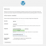 Install WordPress Site and Username Information