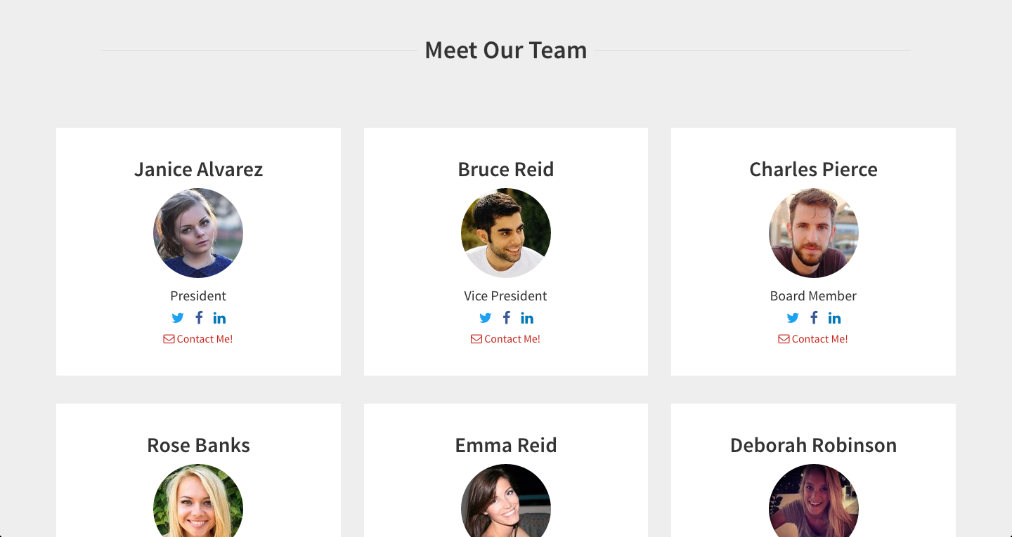 Meet the Team page - Archive page